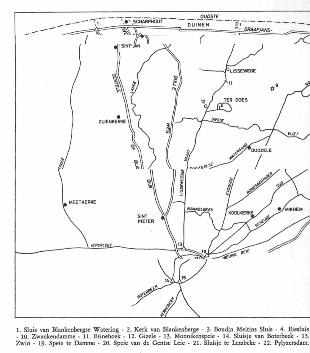 Hydrografie rond Lissewege